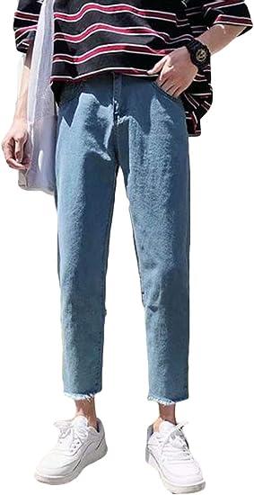 YiTongジーンズ メンズ 九分丈 デニムズボン 男性 ゆったり 無地 秋服 シンプル 韓国風 ファッション ストレートパンツ ワイドパンツ オシャレ 通勤 通学 BF風 アウトドア