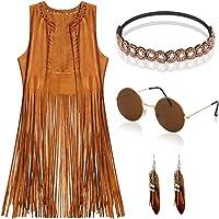 EVISWIY Hippie Costumes Clothes for Women 60s 70s Outfits Fringe Hippie Vest Set 4PCS