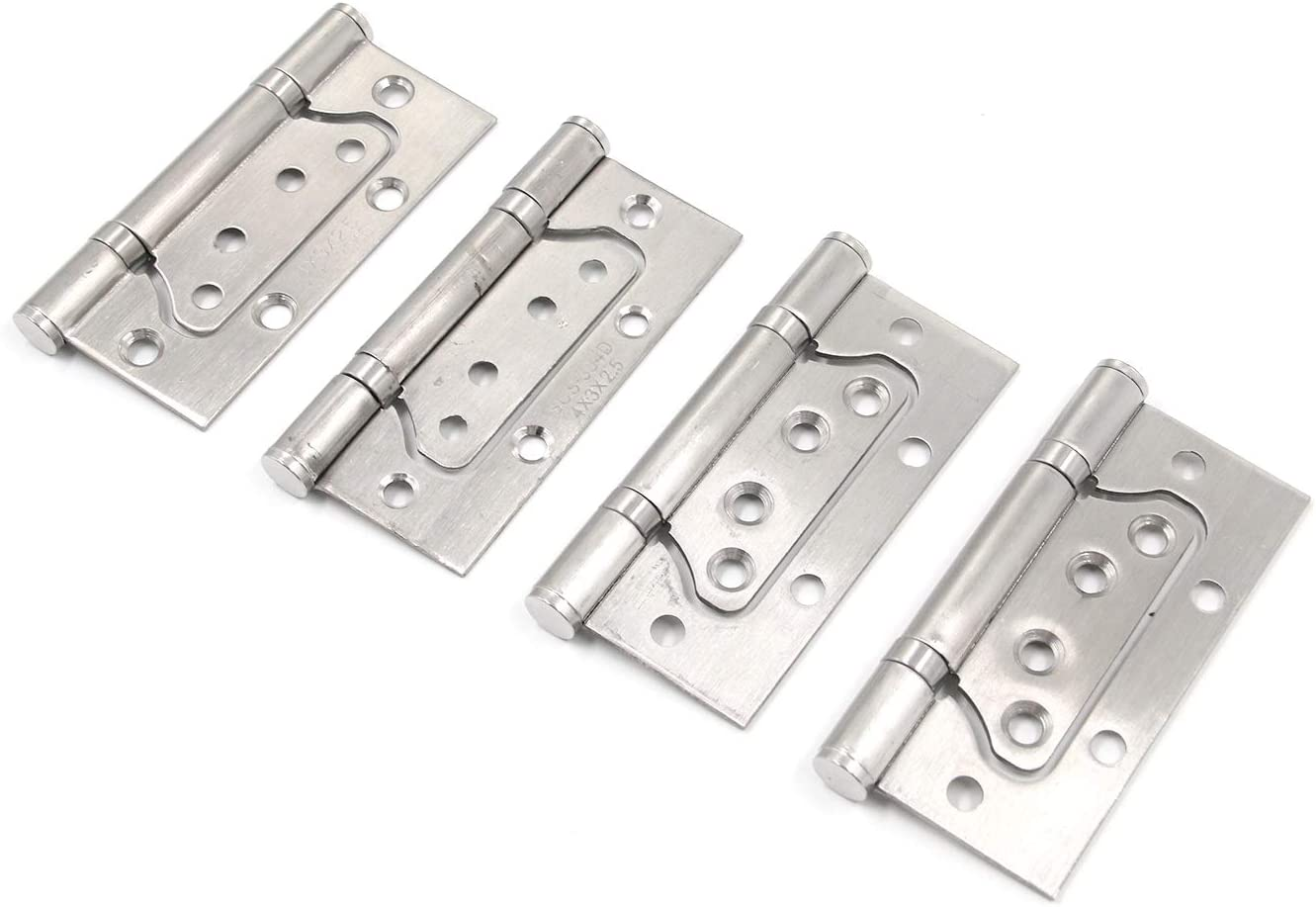 Tulead Door Hinges Stainless Steel Non-Mortise Hinges 4-Inch Shed Cabinet Gate Heavy Duty Hinges Pack of 4 with Screws