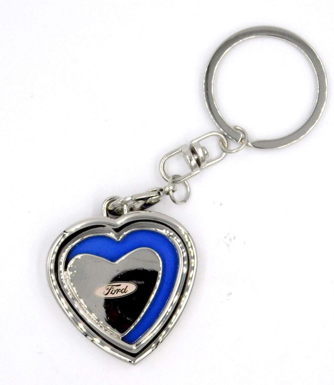 Ford Key Ring Metal Chrome Car Logo Stainless Key Chain Keyring Key Fob New Blue