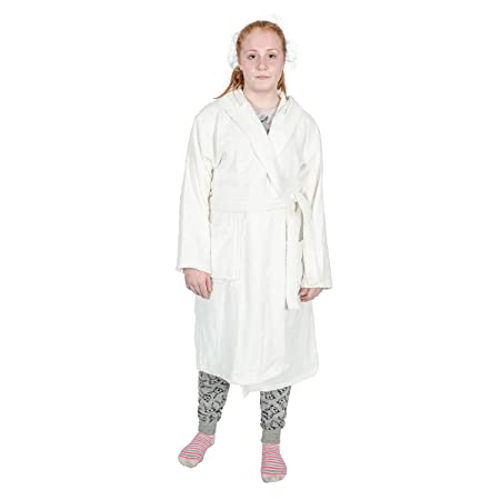 Homescapes Kids Cream Dressing Gown with Hood 100% Egyptian Cotton Luxury  Terry Towelling Bathrobe 23760b8a7