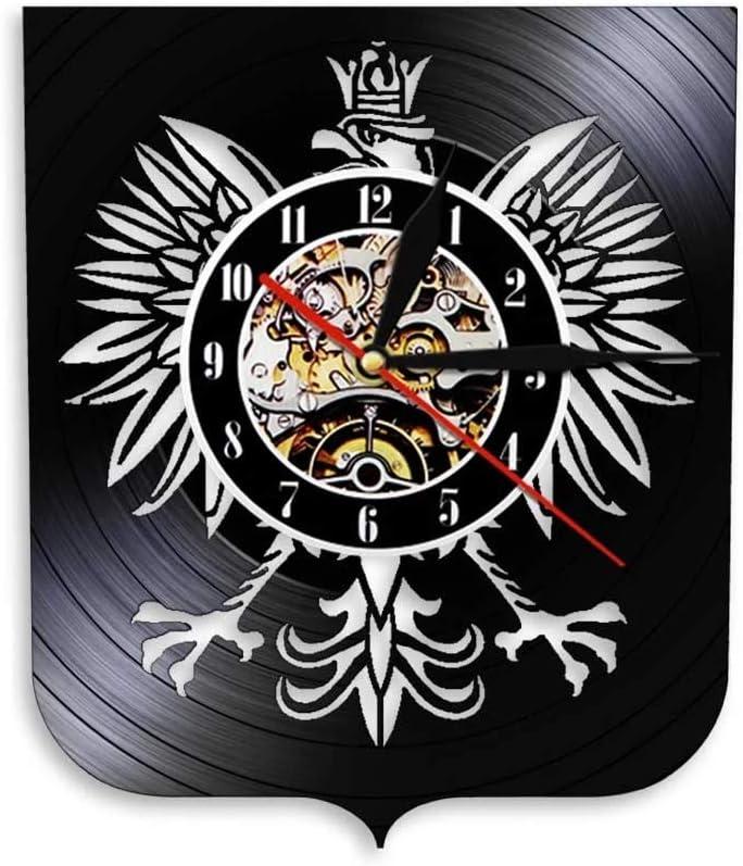 LKJHGU Escudo Polaco Polska Reloj de Pared Patriótico Águila polaca Escudo de Armas Polaco Falcon Vintage Reloj de Pared con Registro de Vinilo
