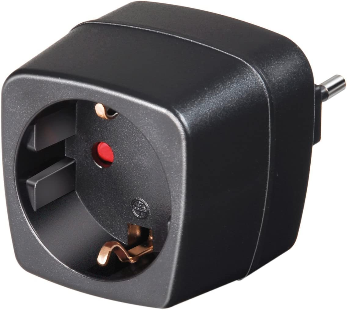 Brennenstuhl Doble Pack Viaje Conector Adaptador, Enchufe Adaptador de Viaje (para: Italia Enchufe y Euro Conector) Color: Negro (2): Amazon.es: Jardín