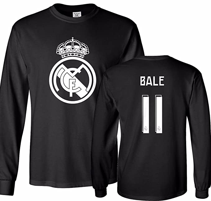 new style f03c9 b4c4f Tcamp Real Madrid Shirt Gareth Bale #11 Jersey Men's Long Sleeve T-shirt