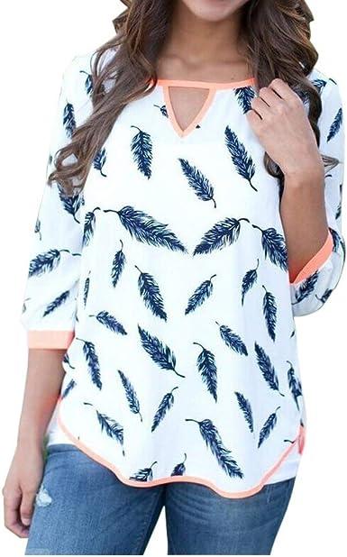 Mujer Camisa Agujeros Larga Manga Blusas O Cuello Estampadas ...