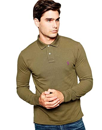 4d0f0bd306886 Image Unavailable. Image not available for. Color  Ralph Lauren - Custom  Fit Long Sleeve Polo - Defender Green - XL