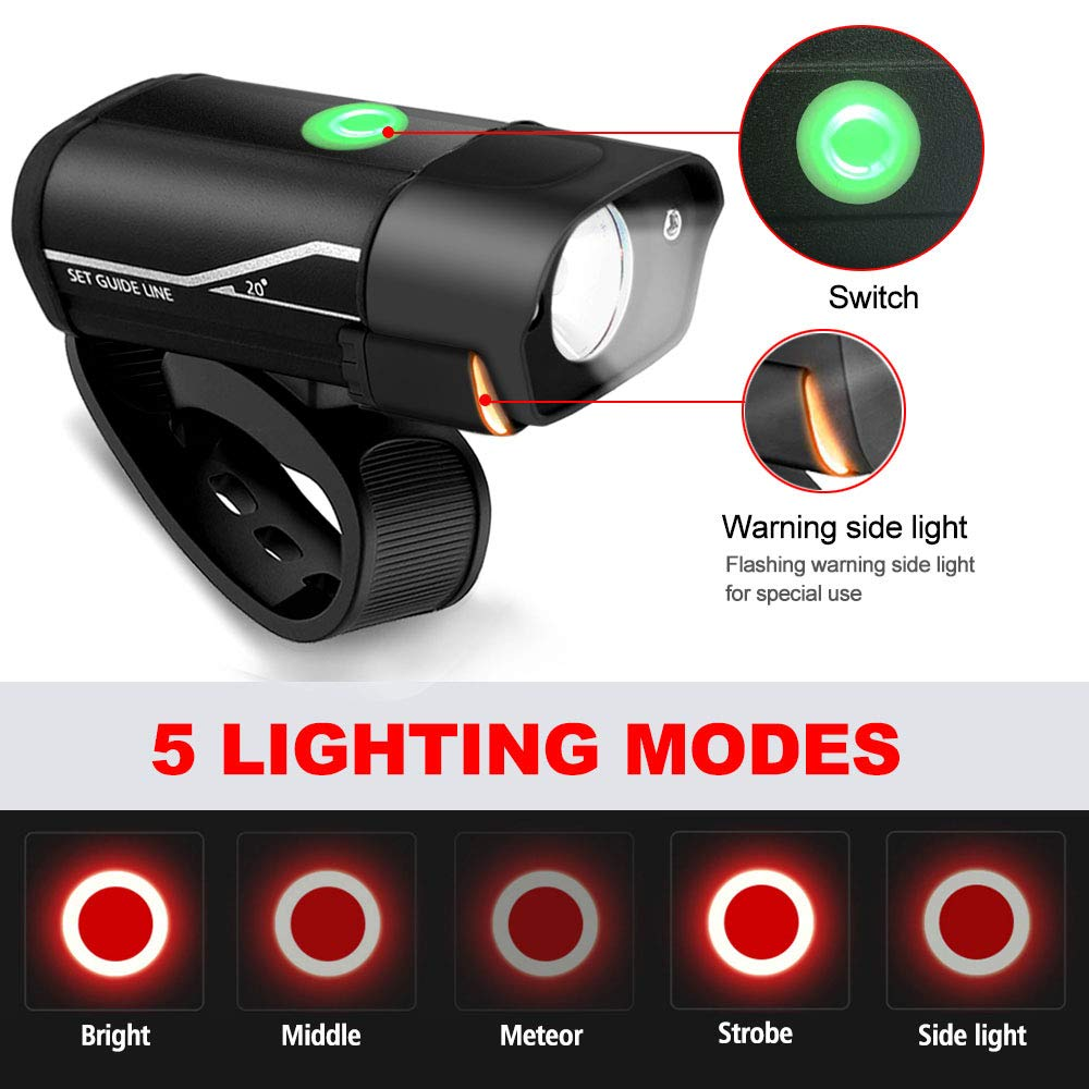 Bike Light Set, USB Rechargeable Super Bright Bicycle Front & Rear Lights Waterproof Led Headlight and Tail Light Mountain Road Bike Lights Rechargeable Flashlight for Night Rider