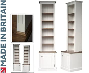 Heartland Pine Traditional 8ft Tall White Painted Waxed Alcove Bookcase Adjustable Display Shelving Unit
