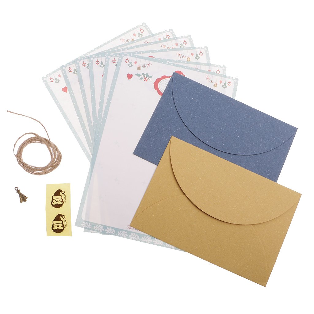 MagiDeal Set of Christmas Style Letter Paper Envelope Sets Greeting Cards Paper