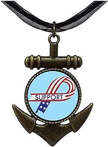 Chicforest Bronze Retro Style Support American Ribbon Anchor Pendant
