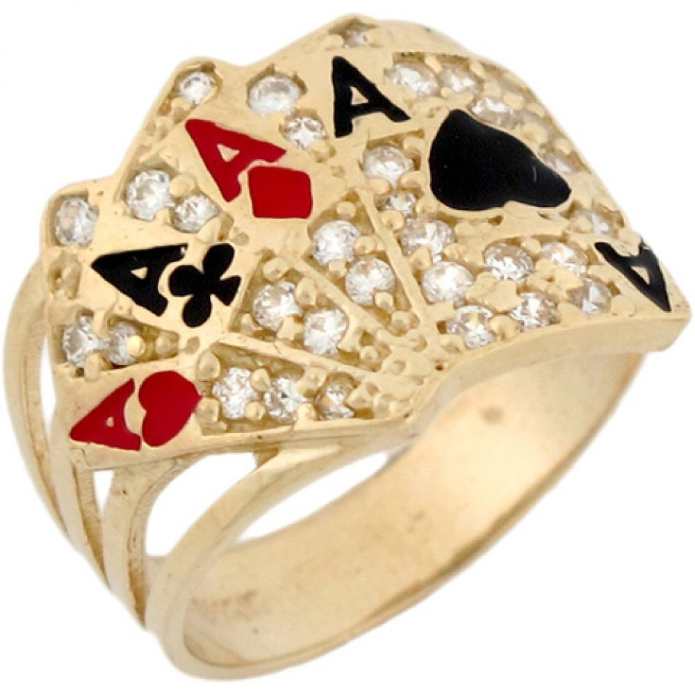 10k Real Gold CZ Four of A Kind Poker Cards Enamel Lucky Unisex Ring