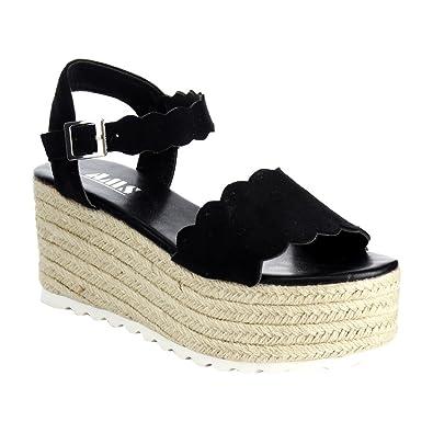 d58f88e970c3 AMS Emma-23 Mary Jane Espadrille Platform Wedge Flatform Open Toe Sandal  Black 8.5
