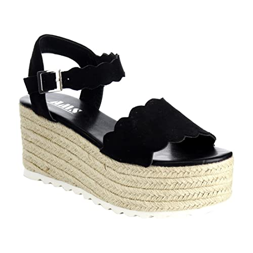 c90d733354 Emma Women Scallop Edged Single Band Espadrilles Platform Sandal Ankle Strap