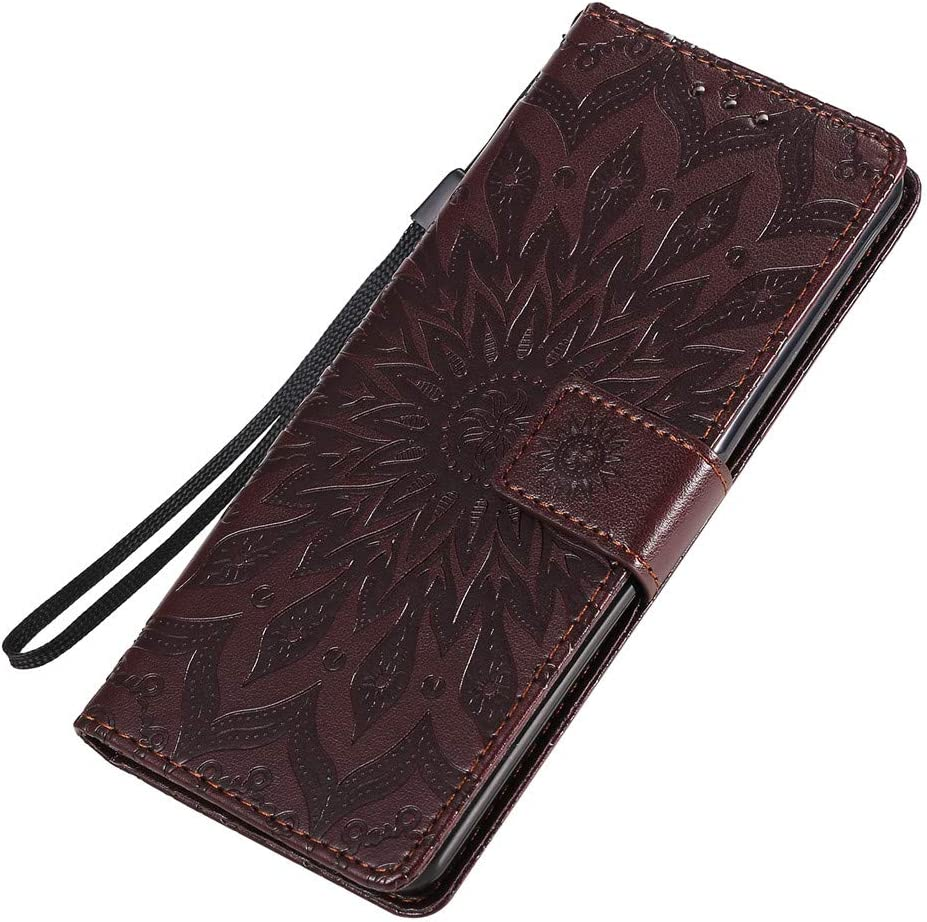 COTDINFORCA Case pour Sony Xperia 10 II Coque PU Leather for Girls Elegant Retro Lucky Flowers Shockproof Cover Card Holder Magnetic Lock Slim /Étui Housse for Sony Xperia 10 II Purple Sunflower KT.