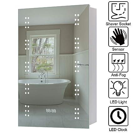 Warmiehomy Modern Illuminated Bathroom Mirror Cabinet 60 Led Bathroom Mirror With Lights Shaver Socket Demister And Sensor 70x50cm