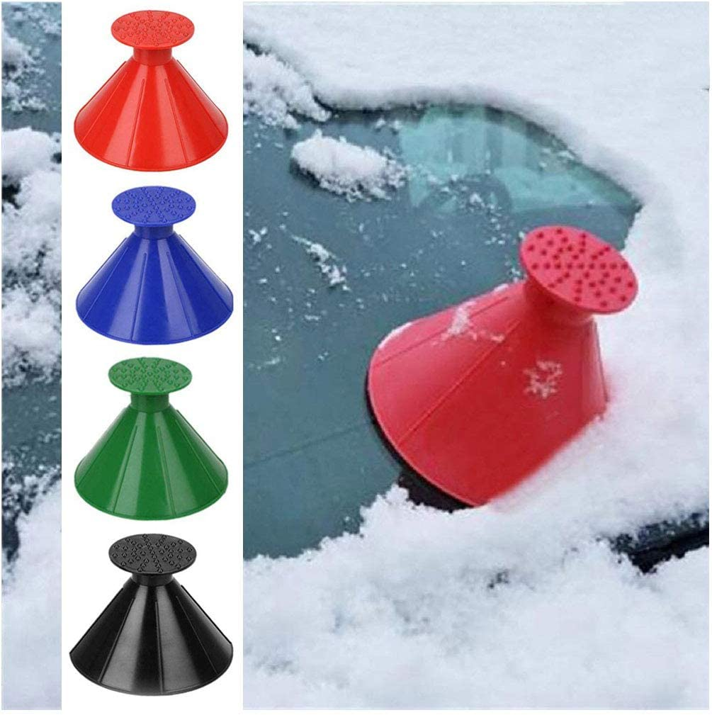 2 in 1 Multifunctional A Round Ice Scraper Cone-Shaped Magic Funnel Car Windshield Snow Removal Tool INFUN 2 Pieces Windshield Ice Scraper