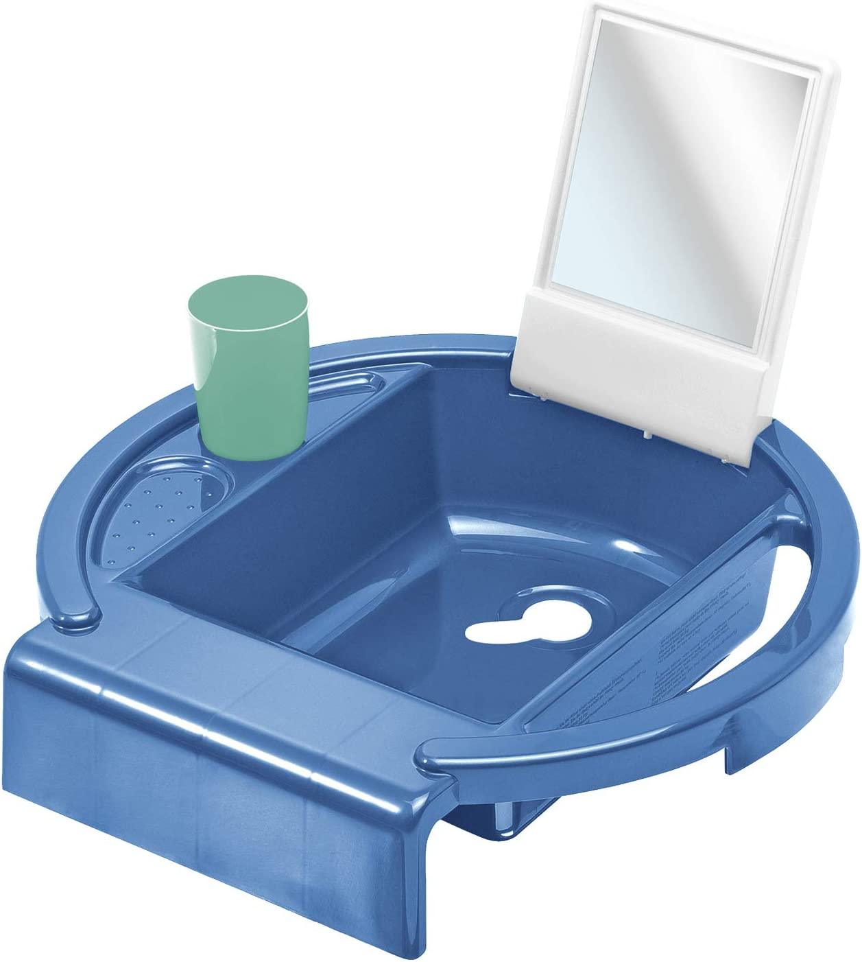 Rotho Babydesign Kiddy Wash Childrens Washbasin 38.7 x 38.2 x 10 cm Cool Blue Blue To be Attached to the Edge of the Bathtub 20034 0315 01