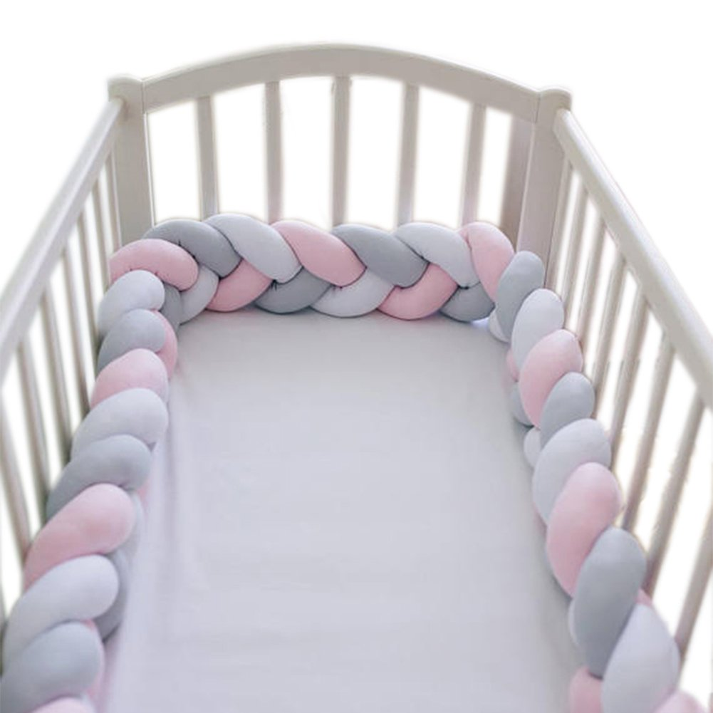 LOAOL Baby Crib Bumper Knotted Braided Plush Nursery Cradle Decor Newborn Gift Pillow Cushion Junior Bed Sleep Bumper (2 Meters, White-Gray-Rose)