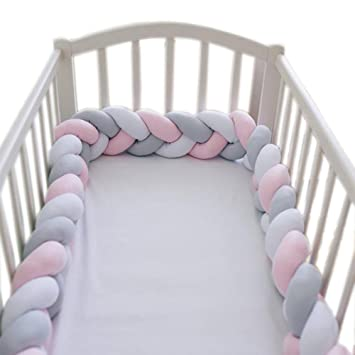 Amazoncom Loaol Baby Crib Bumper Knotted Braided Plush Nursery