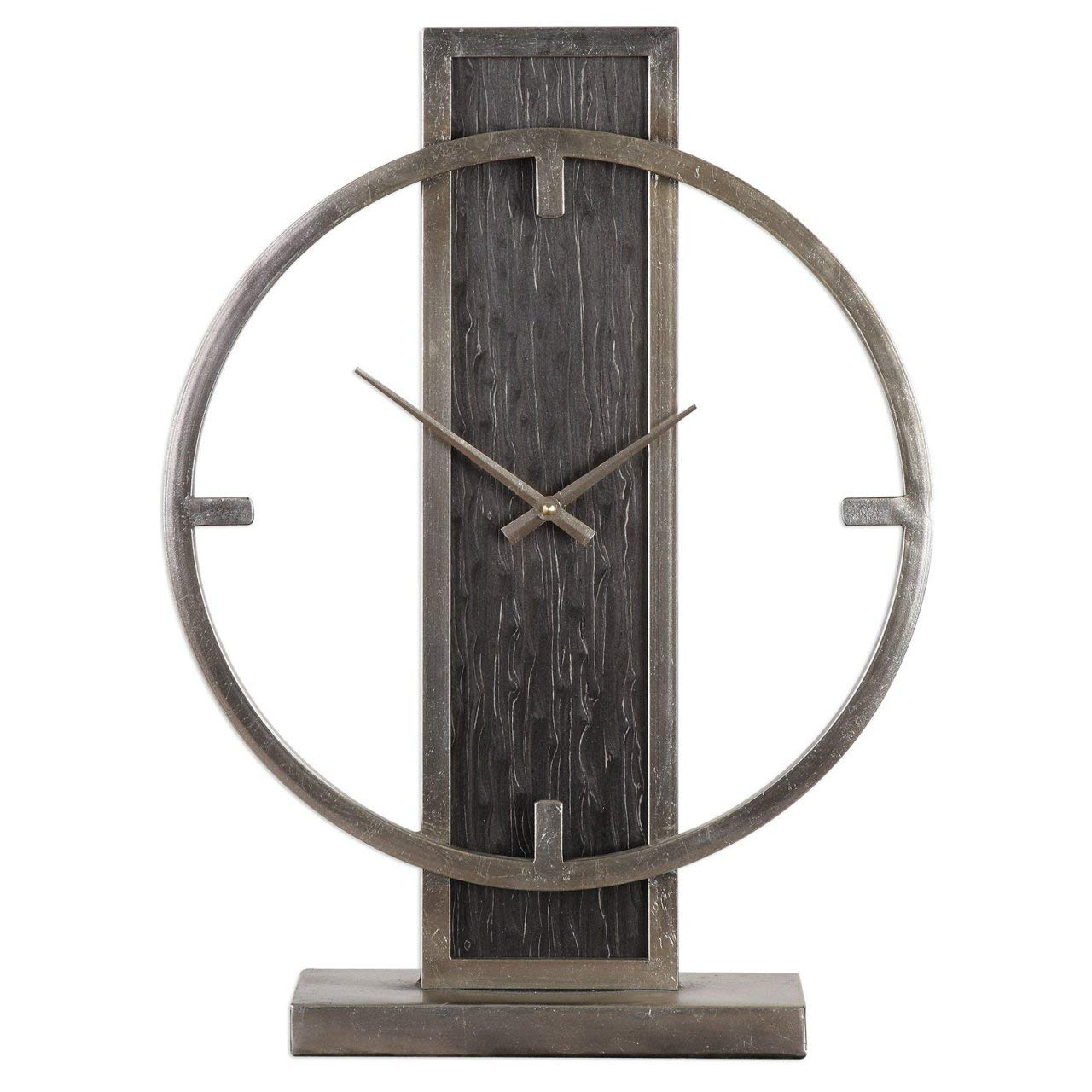 MODE HOME Rustic Silver Table Clock on Stand Vintage Desk Clock Mantel Clock Decorative