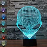 Alien 3D Optical Illusion Desk Lamp 7 Colors Changing Night Light for Home Décor USB Powered Touch LED Table Lamp, Best Holiday Gifts for Kids/ Friends/ Birthdays
