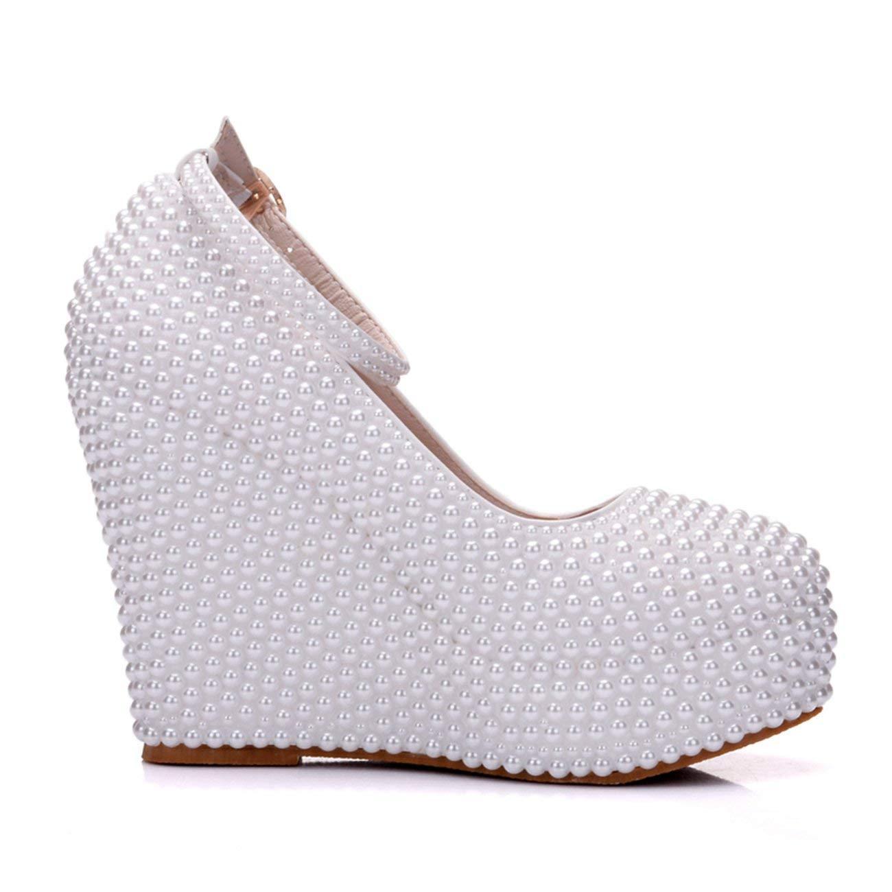 Qiusa Damen Versteckte Hohe Plattform Perle Perle Perle Perlen Wedge Weiß Wedding Abendschuhe UK 5.5 (Farbe   - Größe   -) dc7749