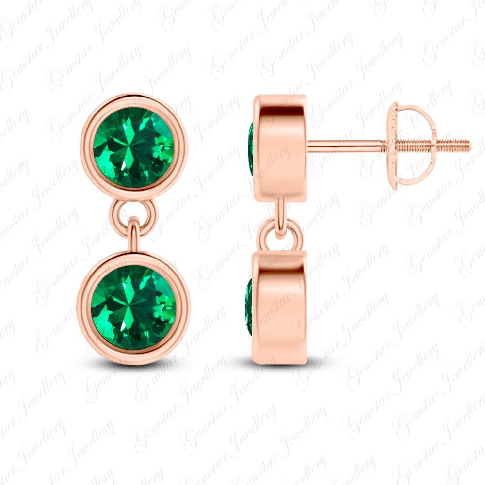 Gemstar Jewellery Brilliant Round Cut Green Emerald 18K Rose Gold Finishing Dangle Stud Earrings
