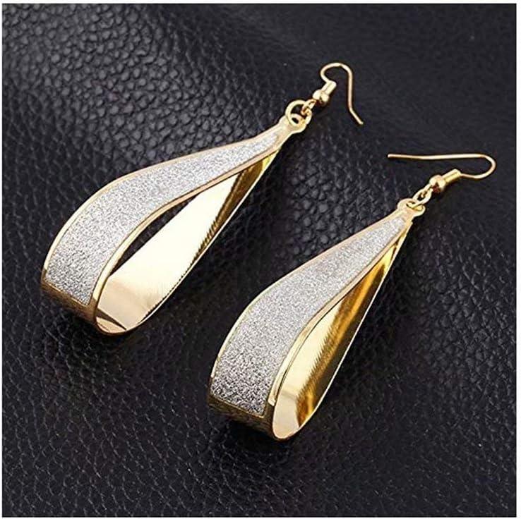 SOSUO Silver Crystal Scrub Water Drop Hook Dangle Earrings Fashion Women Party (Gold)