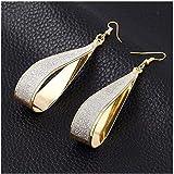 Gold Silver Crystal Scrub Water Drop Hook Dangle Earrings Fa