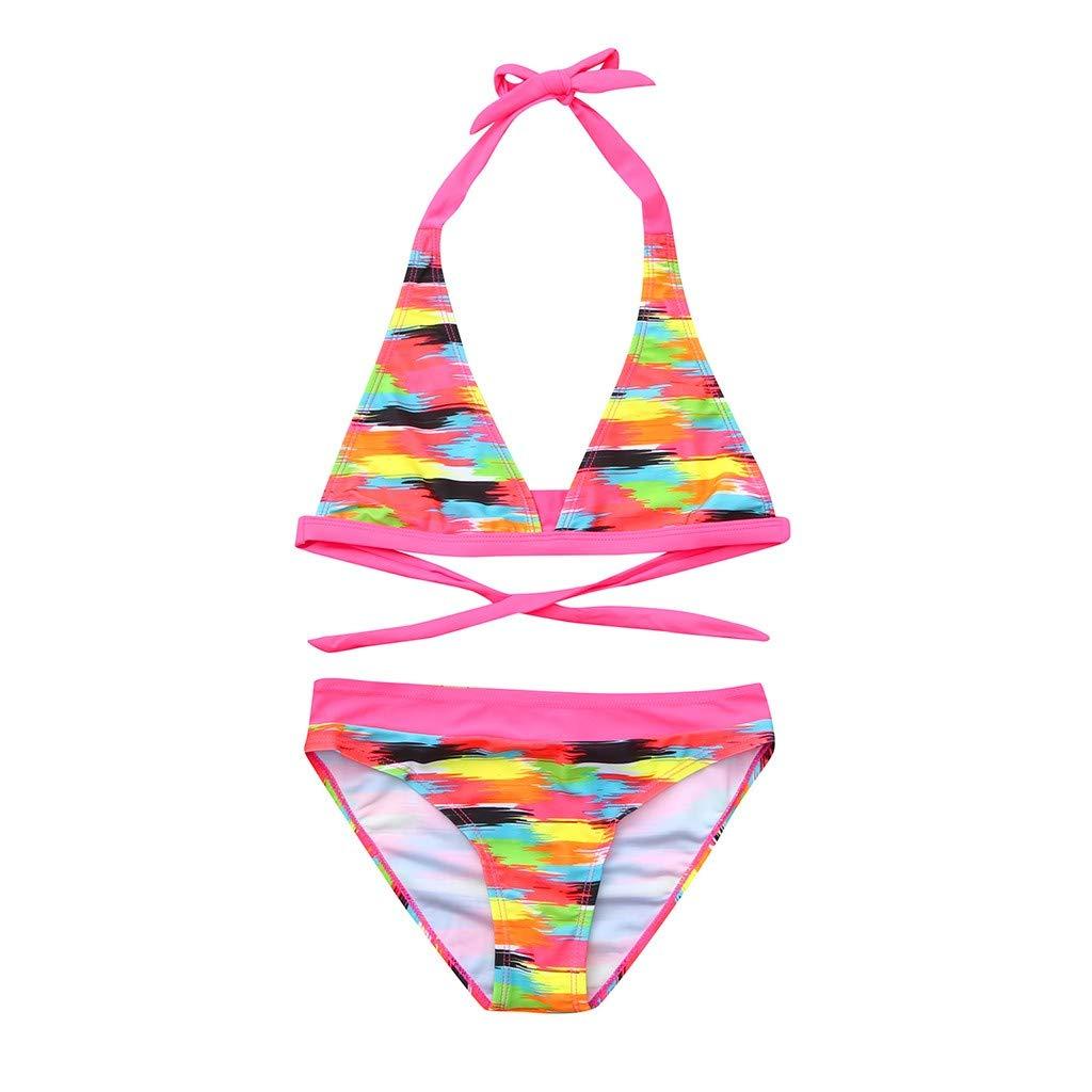 NUWFOR Children Girls Bikini Beach Print Swimsuit+Shorts Swimwear Set Outfit(Multicolor,9-10 Years)