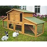 WOLTU® Kaninchenstall Hasenstall Kleintierstall aus massivem Kiefernholz wetterfest Hasenkäfig Stall #550