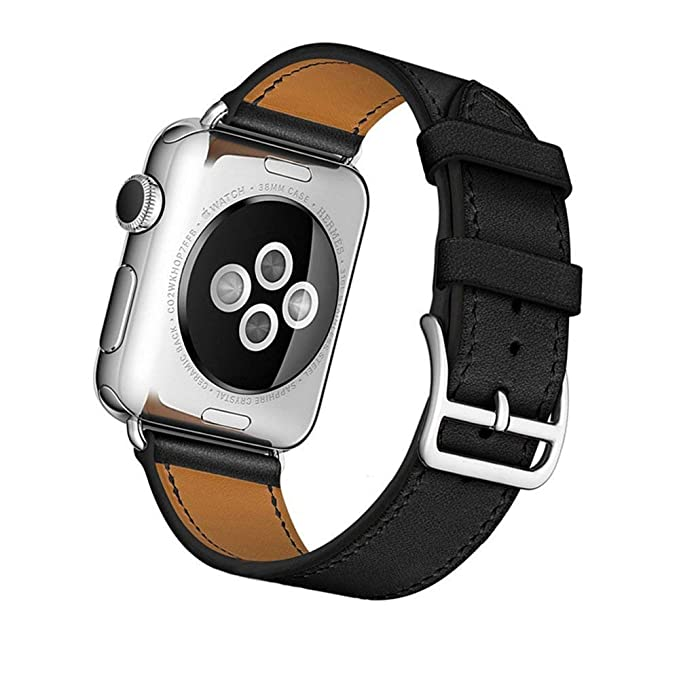 Leather Black Band Compatible for Apple Watch 42mm 44mm, MroTech Genuine Leather Bands Replacement Strap Compatible for Apple Watch Series 4 Series 3 ...
