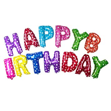 NUOLUX 16inch Alphabet Letters Balloons Happy Birthday Party Decoration Mylar Foil Letter Colorful Amazoncouk Toys Games