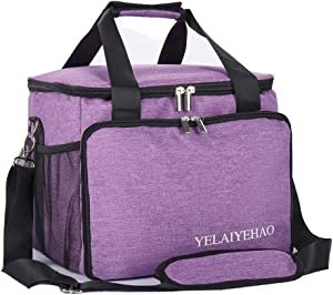 YELAIYEHAO Medical Bag,Clinical Bag with Inner Dividers, for Home Visits, Health Care, Doctors Bag (Medium, Purple)