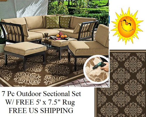 7 pc Outdoor Patio Deck Sectional Chat Set W/ 2 Ottomans Tan + FREE Area Rug (Setting Outdoor Cheap Wicker)