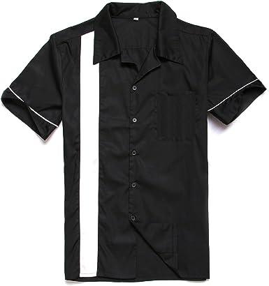 Candow Look 50s Negro Cotton Men Camisas Rockabilly worktshirts: Amazon.es: Ropa y accesorios