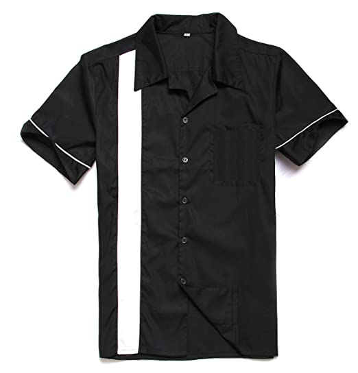 d5caa9b52d53 Anchor MSJ Men's 50s Male Clothing Rockabilly Style Casual Cotton Blouse Mens  Fifties Bowling Dress Shirts