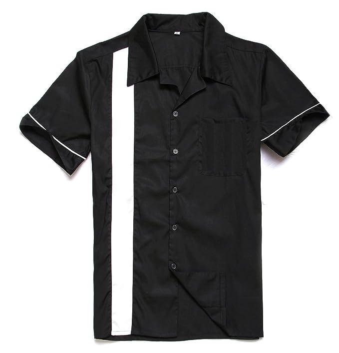 Aloha-Beachwear Worker Bolos para Hombre Camiseta Camisa Double Panel Lounge Gabardine Retro 50s Rockabilly