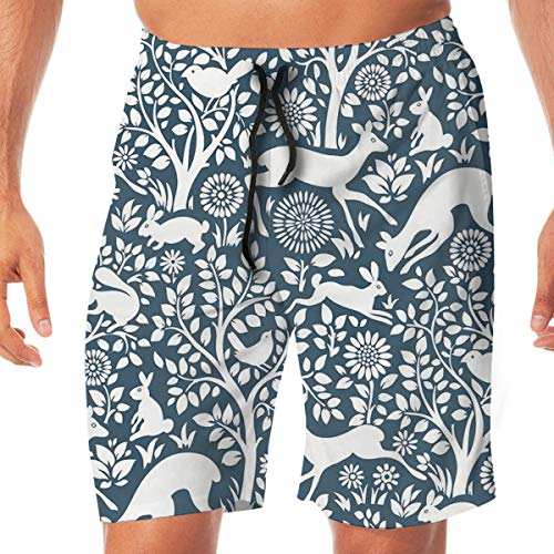 Mens Swim Trunks Quick Dry Beach Board Shorts Minimalist Pattern with Deer Rabbit Swimming Short with Pockets White