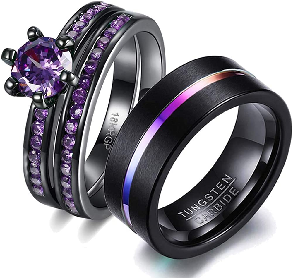 wedding ring set His Hers Couples Matching Rings Women's 18k Black Gold Filled Violet CZ Wedding Engagement Ring Bridal Sets & Men's Tungsten Carbide Wedding Band