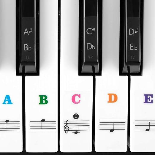 Joyfeels Store Pegatina para teclado de piano Pegatina transparente para piano y teclado con 37/49/54/61/88 para teclas blancas y negras