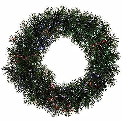 vickerman pre lit battery operated fiber optic artificial pine christmas wreath with multicolored 30quot - Pre Lit Battery Operated Christmas Wreath