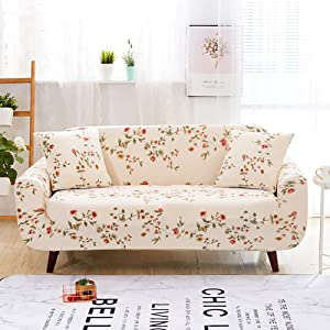 Jaoul All Cover Printing Elegant Floral High Stretch Couch Sofa Slipcover Furniture Protector with Two Pillow Cases, Flower Vine, Sofa-4 Seater