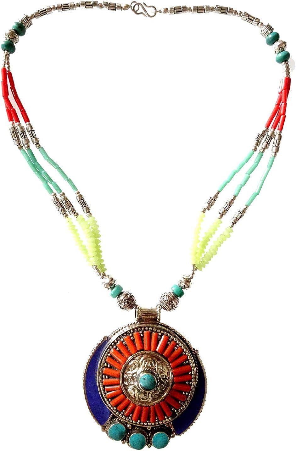 Coral rojo Lapislázuli azul turquesa verde piedras preciosas collar de moda para mujer niña hecho a mano Tribal étnico Colgante largo de hebra Grabado fino Budista Boho Gargantilla Collar tibetano