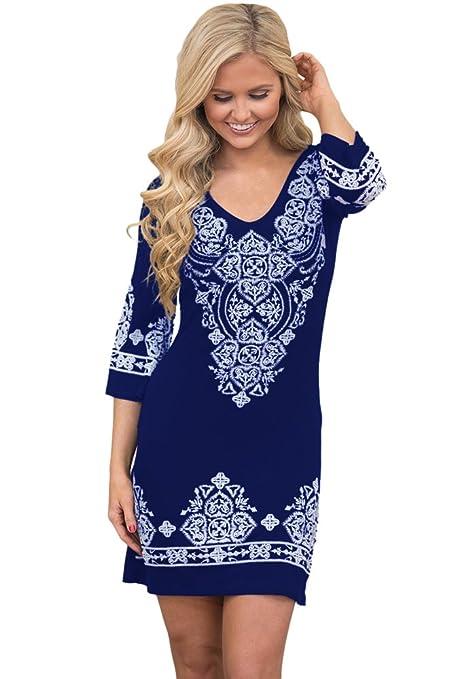 Nuevas señoras blanco y azul marino diseño Tribal Midi vestido Club verano vestido Casual vestido de