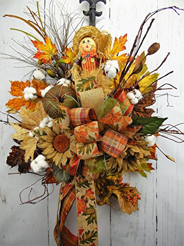Fall Scarecrow and Floral Door Swag,