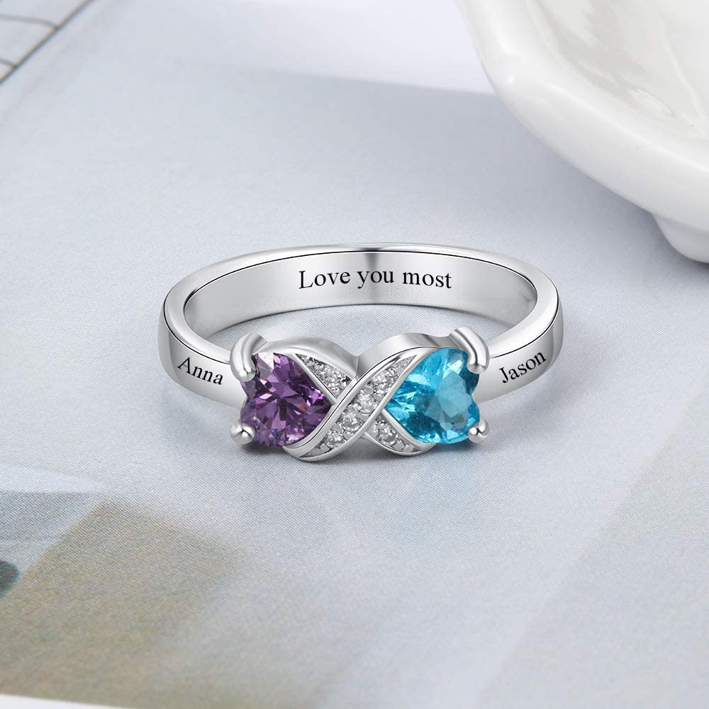 Love Jewelry Personalized Sterling Silver Infinity Mothers Ring with 2 Heart Simulated Birthstones Engagement Promise Rings for Women