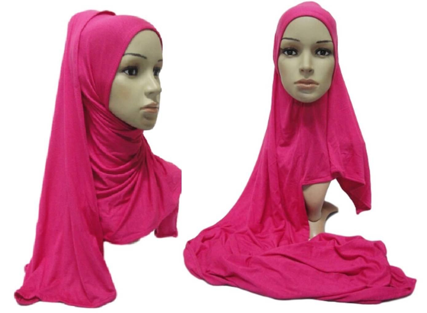 No-Pin Cotton Jersey Hijab Burgundy by Hijab Pins Plus (Image #2)