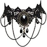 Contever® Gothic Vintage Classic Necklace Black Jewel Lace Choker Party ,Length: 30cm - 35cm