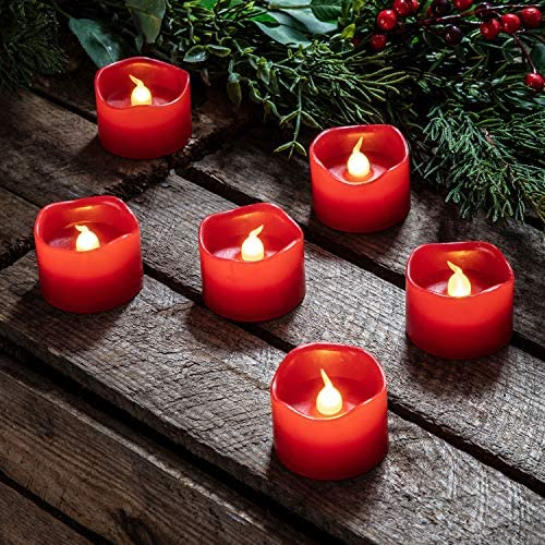Lights4fun, Inc. Set of 6 Red Wax Battery Operated Flameless LED Votive Candles